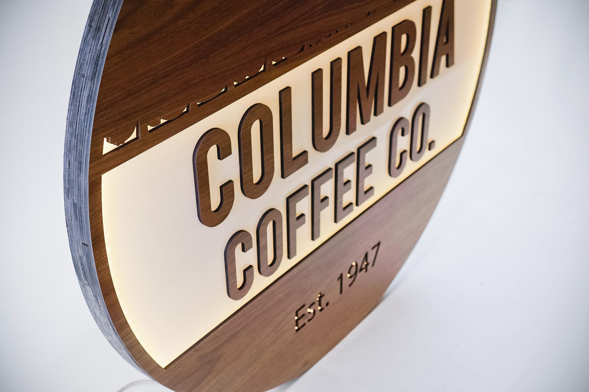 Walnut and white acrylic illuminated cafe sign for Columbia Church, a church in Richland, WA.