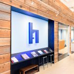 Blue painted, halo-lit, illuminated sign for HelloOffice, a San Francisco technology-powered commercial real estate brokerage helping companies search for office space.