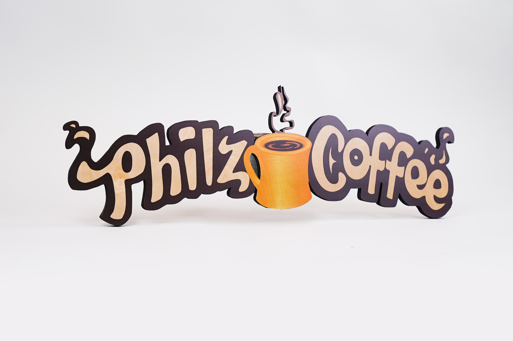 Printed wood, cafe menu sign for Philz Coffee, a coffee company and coffeehouse chain based in San Francisco, California.