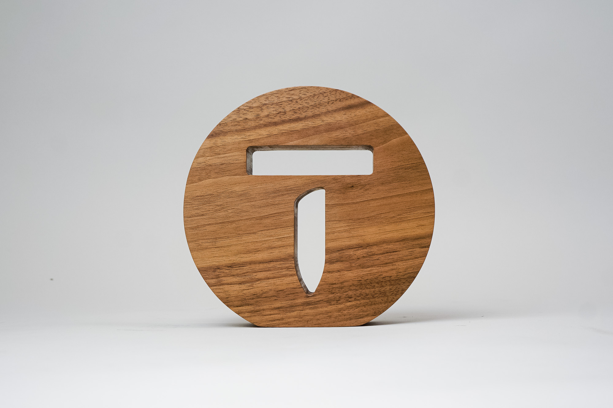 Solid walnut tabletop sign for Thumbtack, a San Francisco based online service that matches customers with local professionals