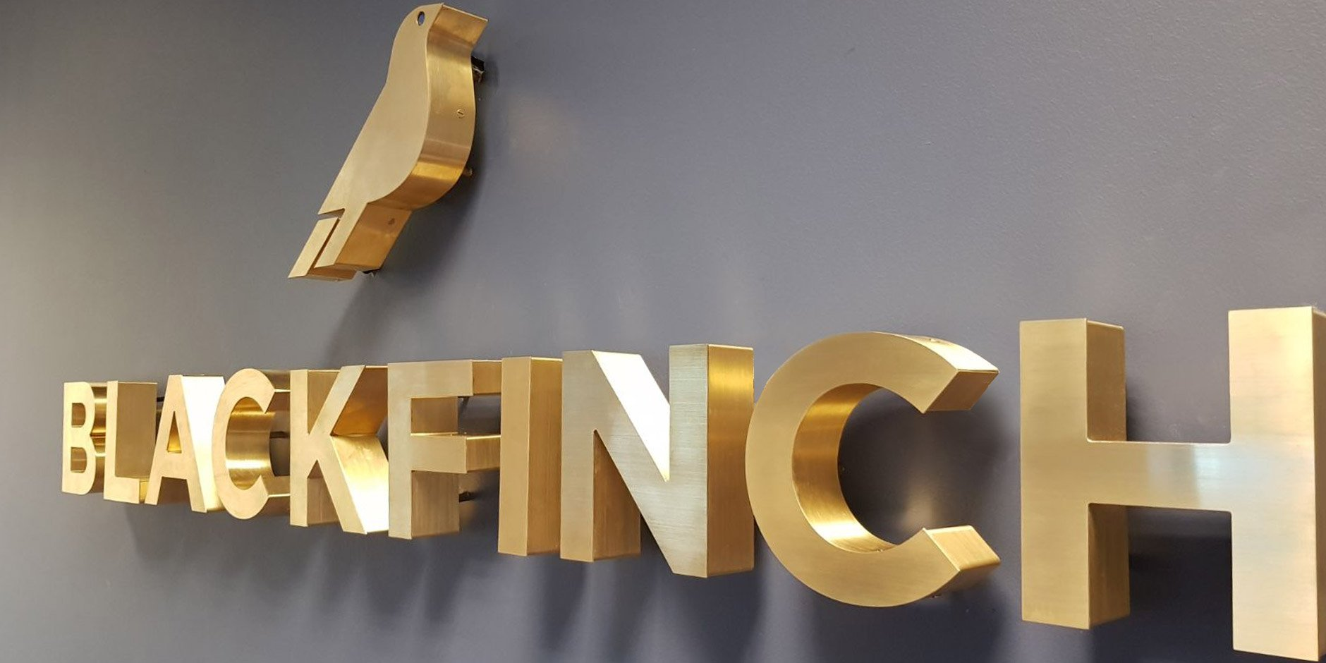 blackfinch thick brass letters on grey wall