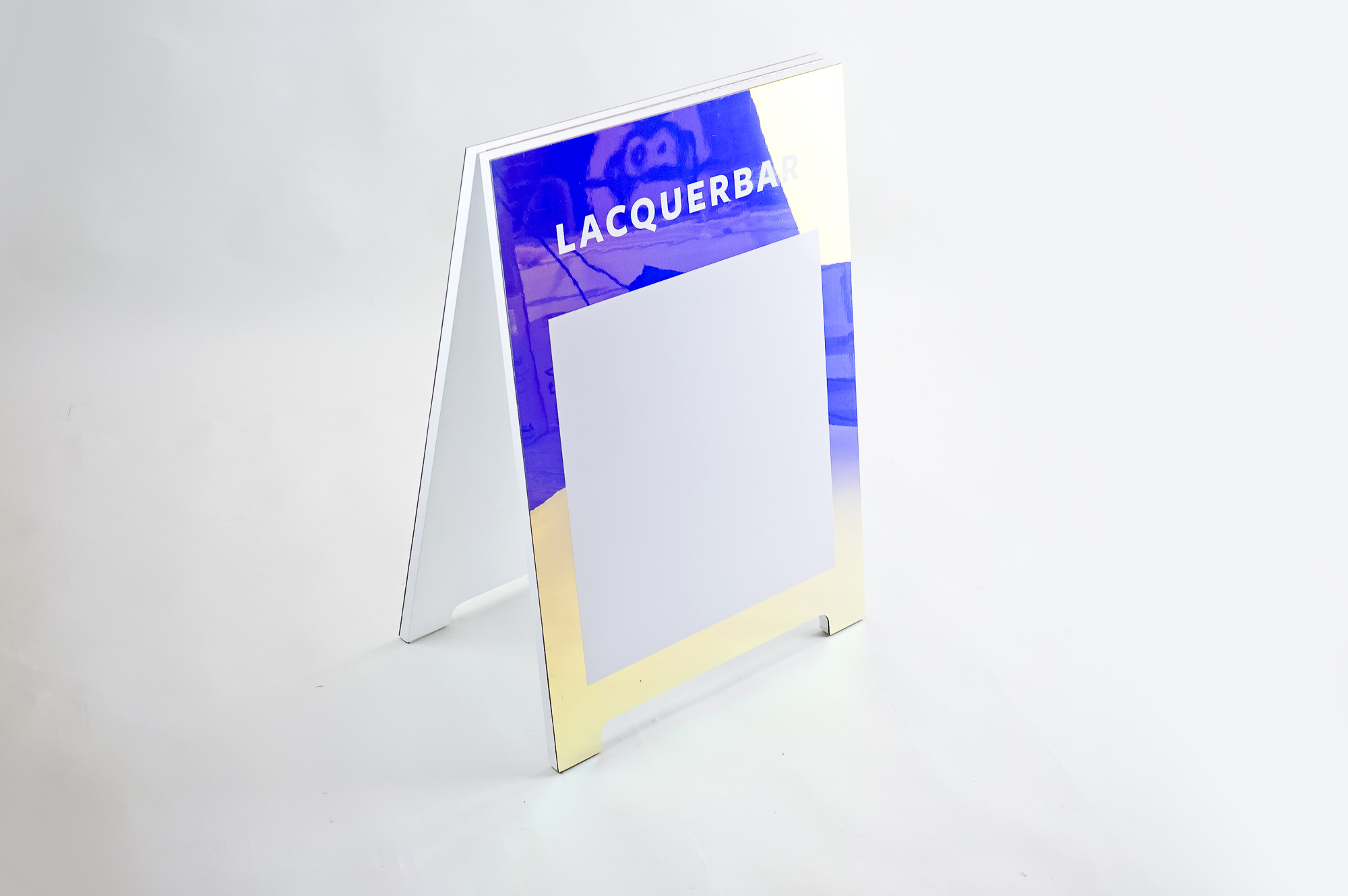 Holographic a-frame/sidewalk sign with whiteboard for Lacquerbar, an urban modern nail salon and online beauty brand headquartered in Berkeley, CA.