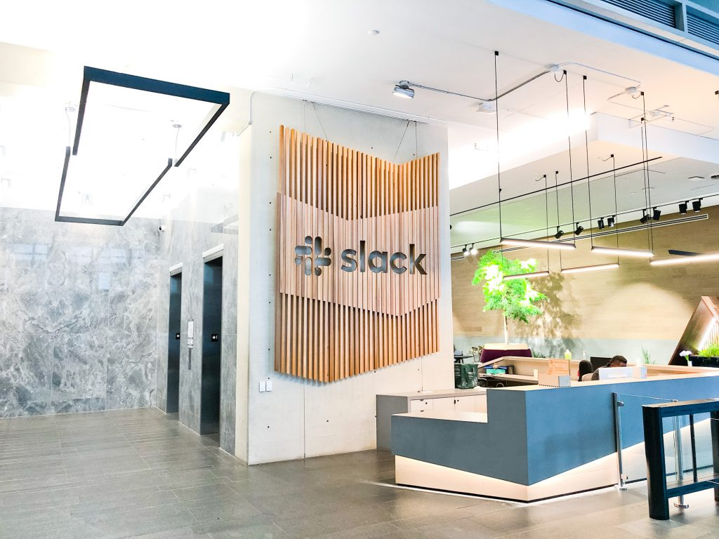 Slack lobby sign - installed