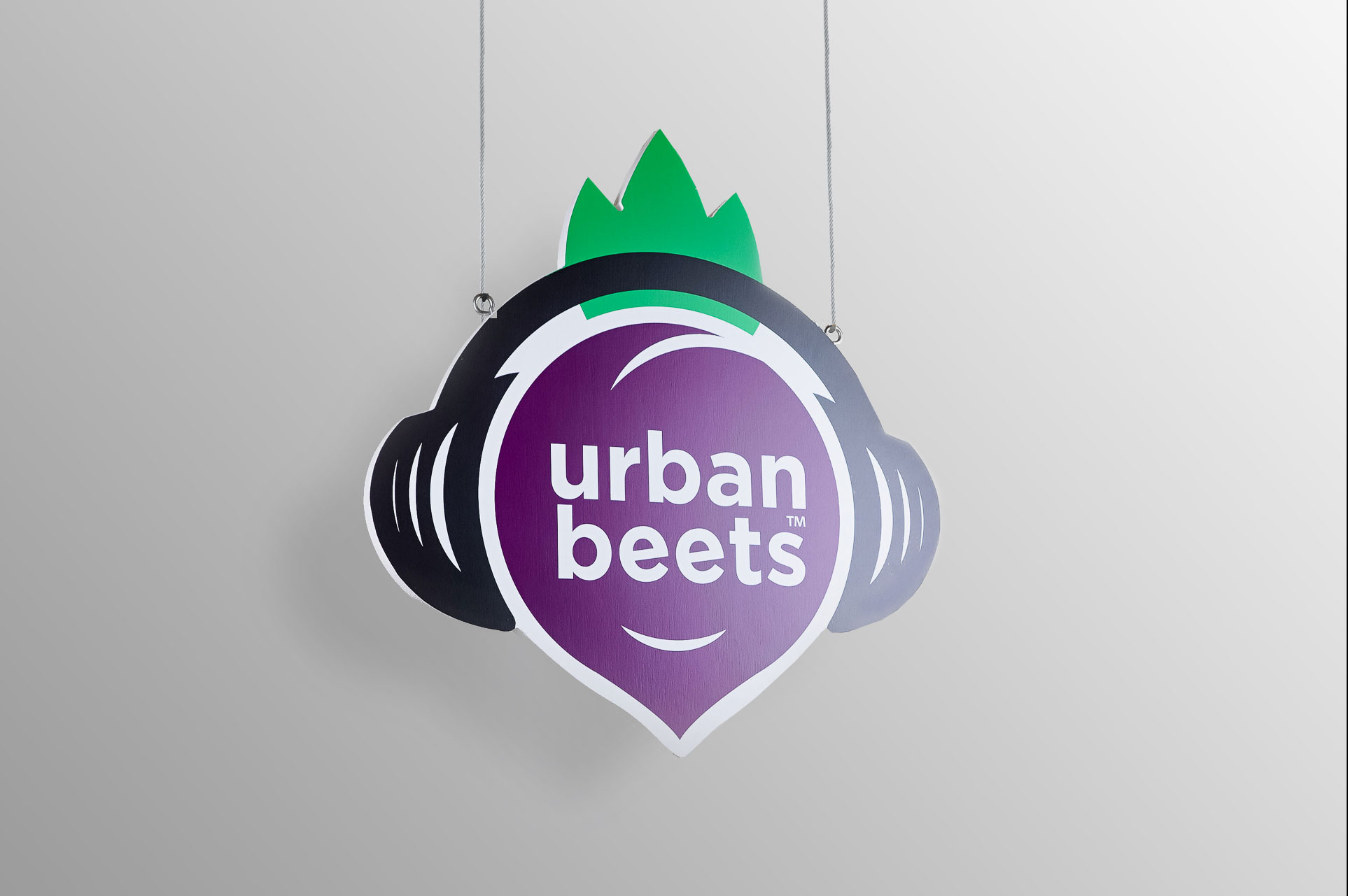 Hanging, full-color exterior sign for Urban Beets, a new restaurant in Arvada, CO.