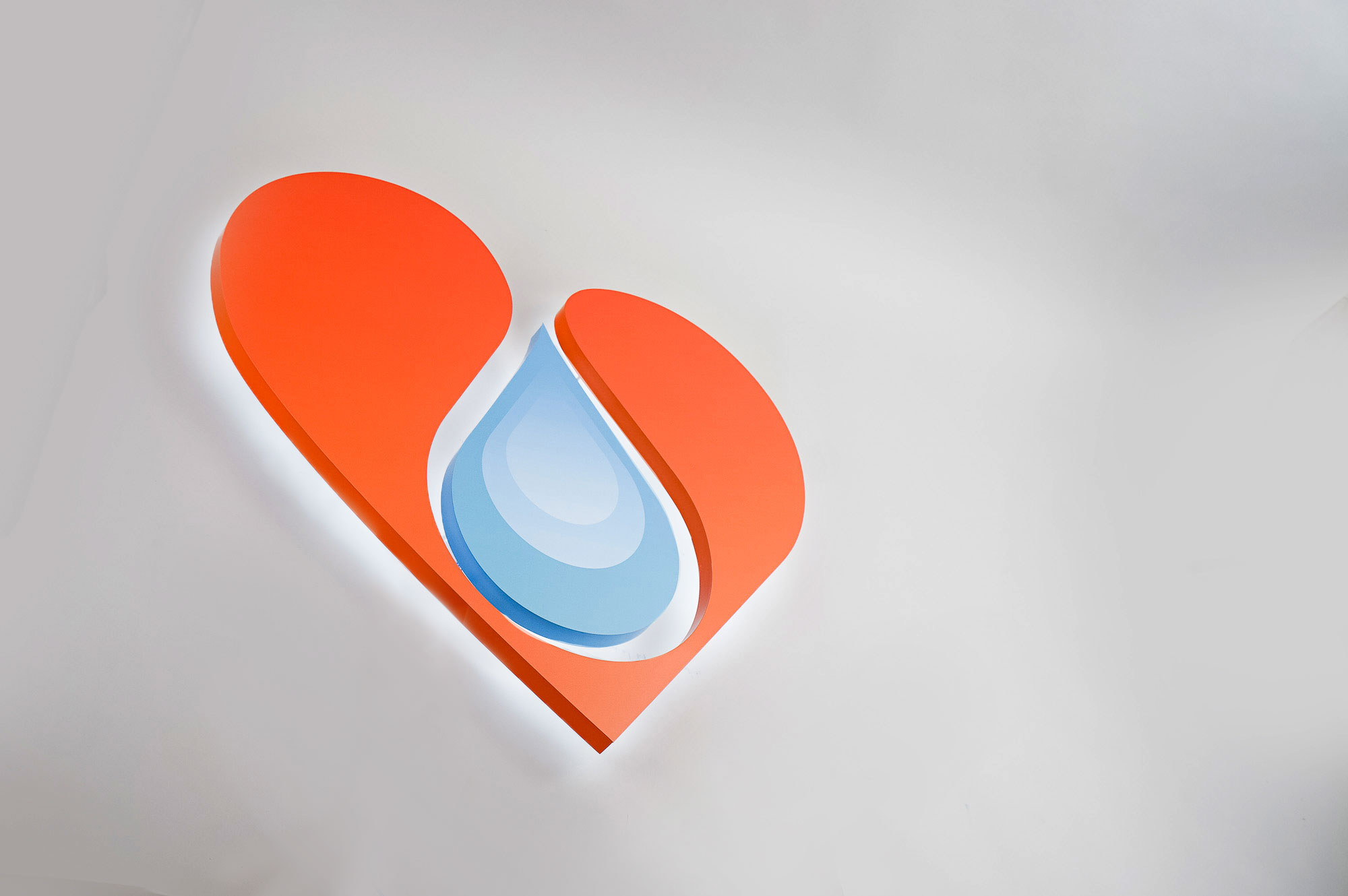 Illuminated heart sign for B12 Love, a San Francisco center offering nutrient therapies.