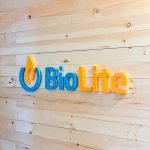 Colored logo on light wood slat wall for Biolite, a New York City based startup that develops and manufactures off-grid energy products for both the outdoor recreational industry and emerging markets.