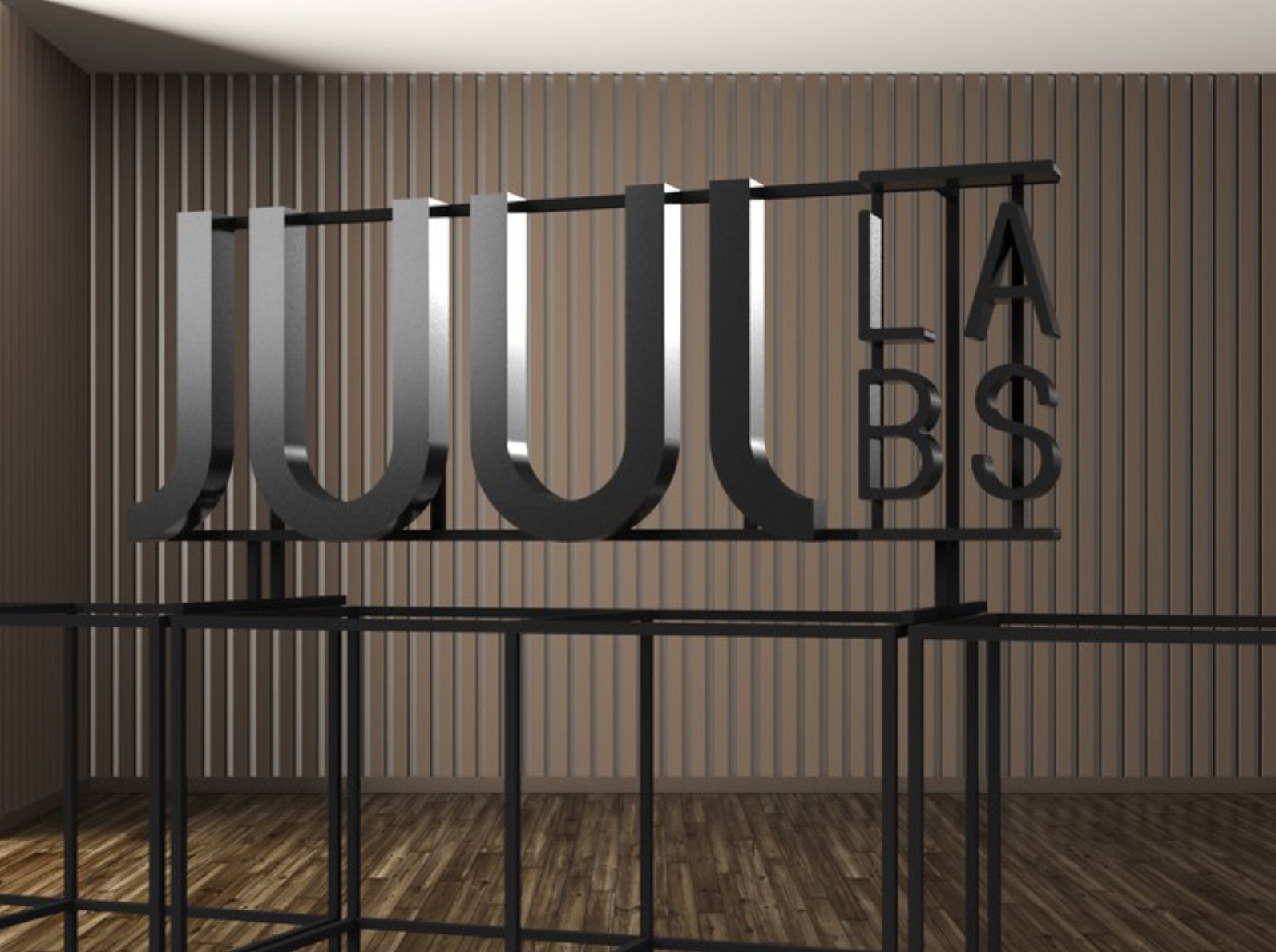 Black metal floating letter shelf sign for the San Francisco office of Juul, an electronic cigarette company.
