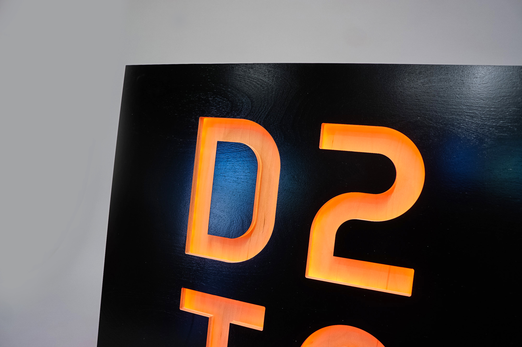 Illuminated, black painted, color changing sign for D2IQ (formerly Mesophere), an American technology company based in San Francisco, CA which develops software for data centers based on Apache Mesos.