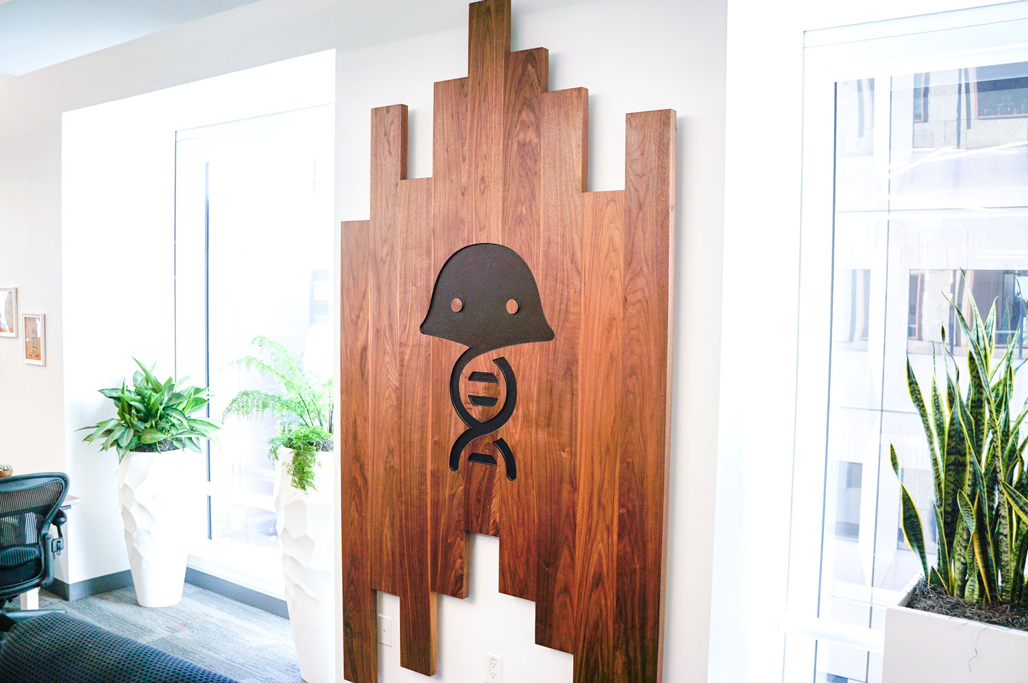 Solid walnut slat sign with engraved jellyfish for the office of Benchling, a San Francisco based company working on a unified platform to accelerate, measure, and forecast R&D from discovery through bioprocessing.