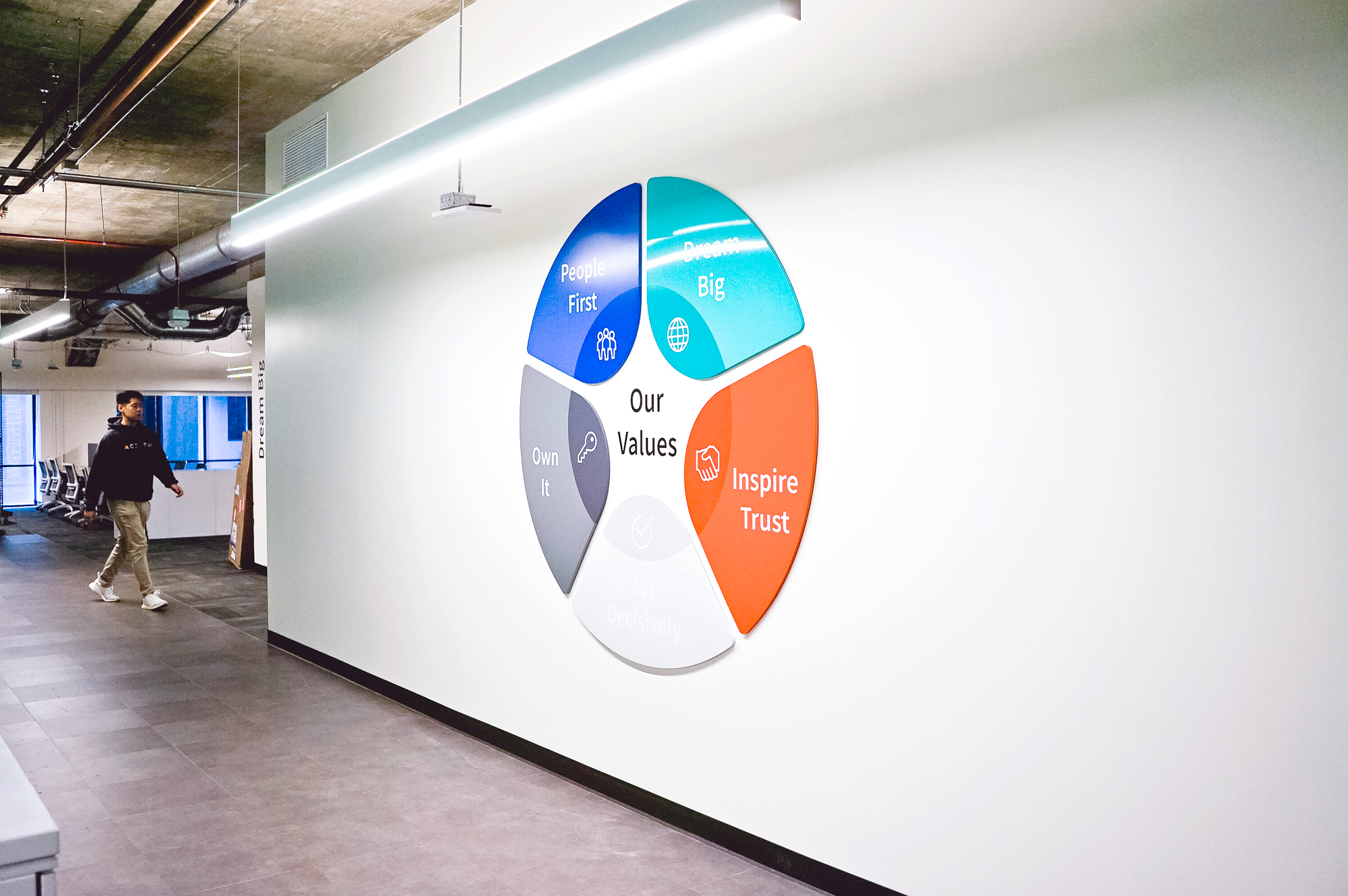 Dimensional, full-color company values graphic on white wall in the San Francisco office of Roostify, an integrated digital mortgage software platform.
