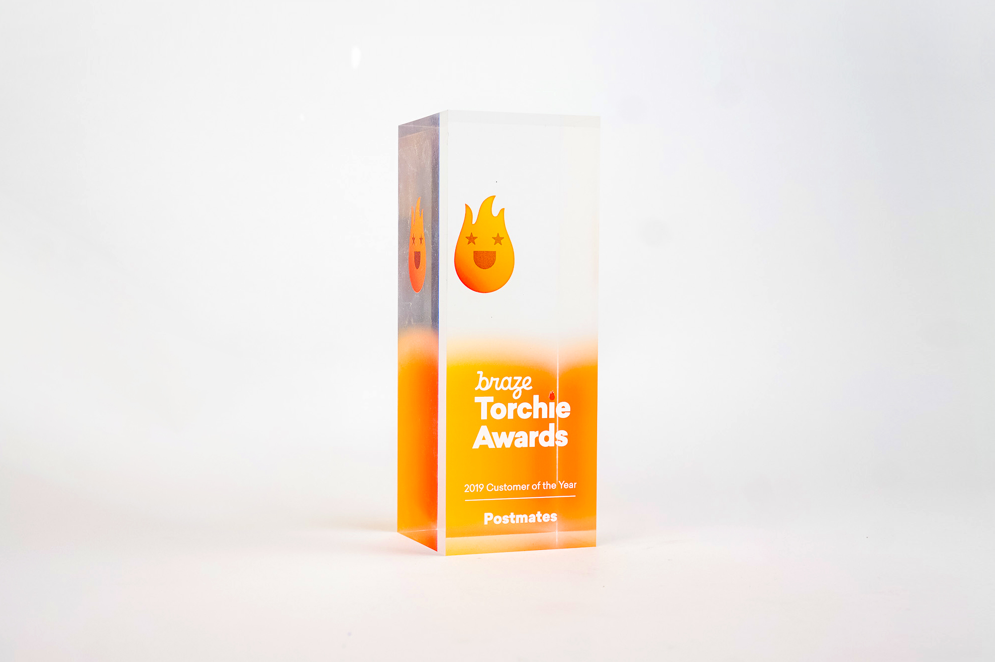 Modern, multi-side printed acrylic award for Braze, an American cloud-based software company based in New York City.