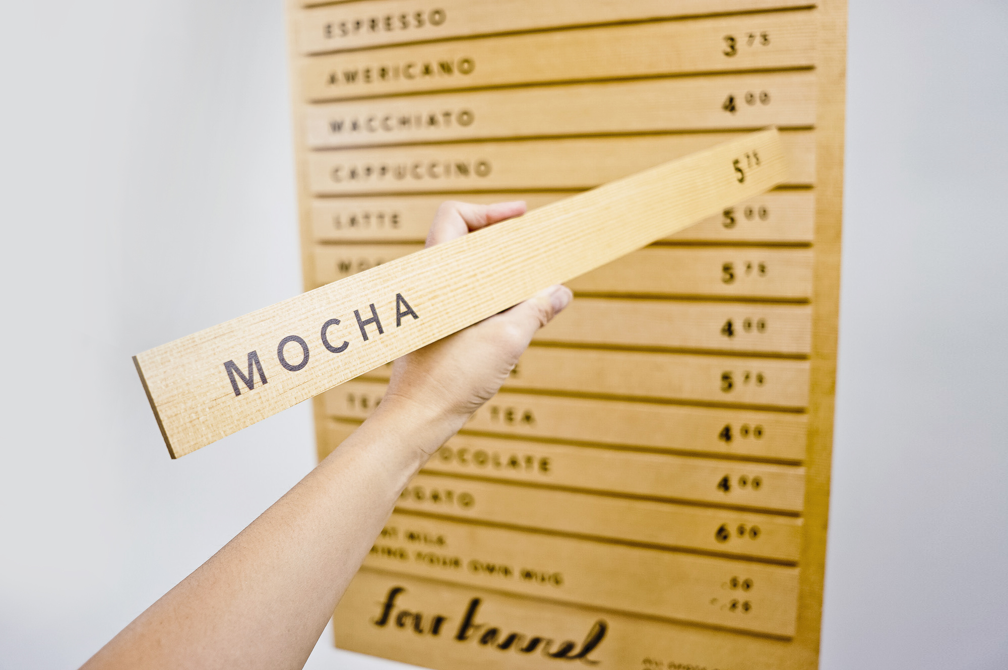 Wood menu with changeable items for Four Barrel, an independent coffee company based in San Francisco.