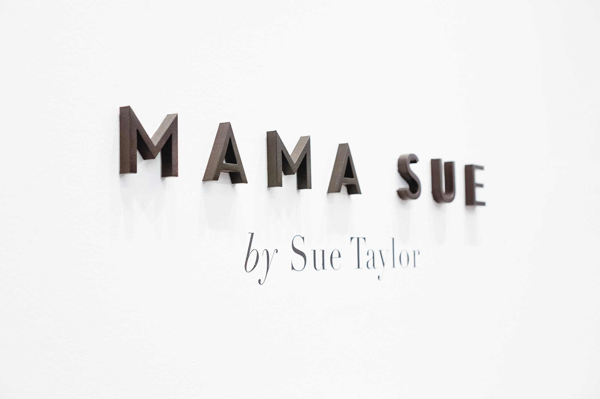 Minimal, black dimensional letters for the retail display of Mama Sue, a Berkeley, CA based company that brings cannabis to seniors.