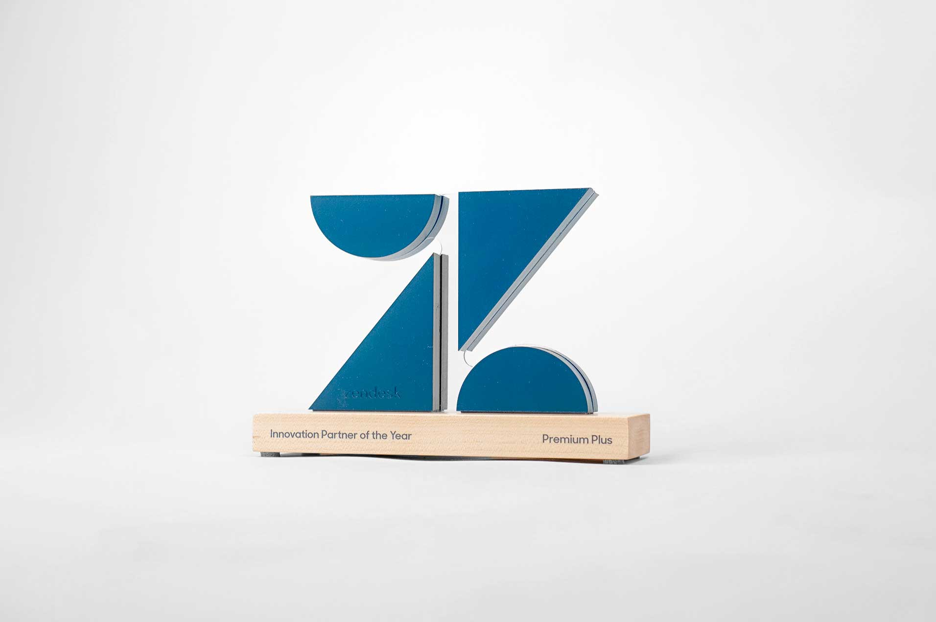 Custom cut, logo shaped partner award with optical illusion for Zendesk, a customer service software company headquartered in San Francisco, California.