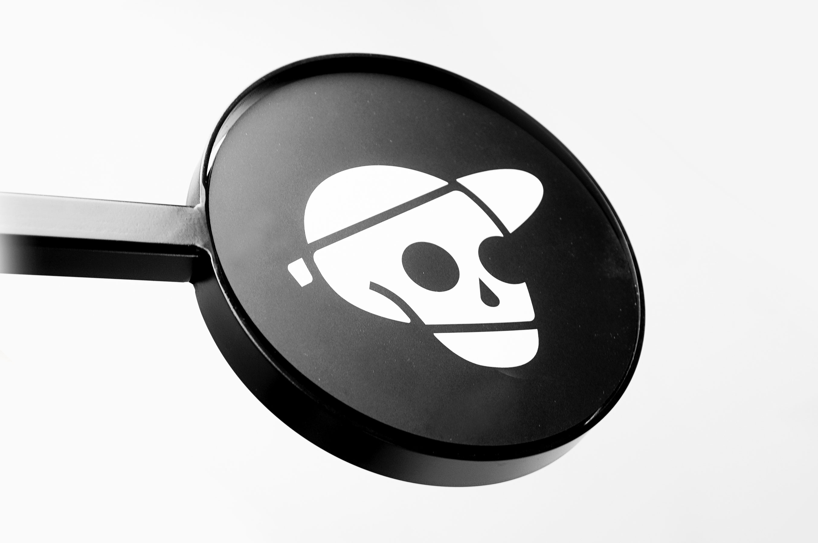 Skeleton logo on retro black interior blade sign for the studio of Reece Parker, a freelance animation director and illustrator based in Seattle, WA.