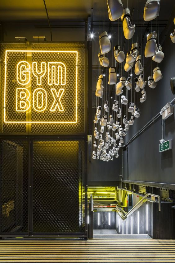 Yellow neon sign on cage at Gym Box in Victoria, Australia. (Photo: A.M.P.)