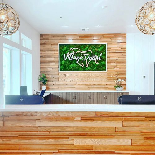 Framed moss art with white and gold logo inset on wood paneled wall for the lobby of Village Dental, a cosmetic and general dentistry office in Reno, NV.