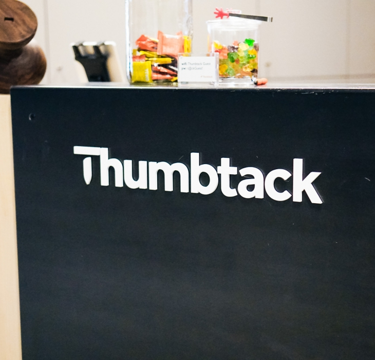 Thumbtack Front Desk Sign