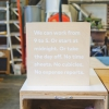 thumbtack manifesto sign - white matte vinyl on wood
