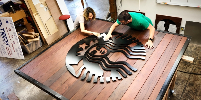Assembling starbucks sign