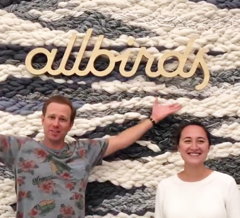 Light wood sign for Allbirds, a San Francisco-based direct-to-consumer startup aimed at designing environmentally friendly footwear.