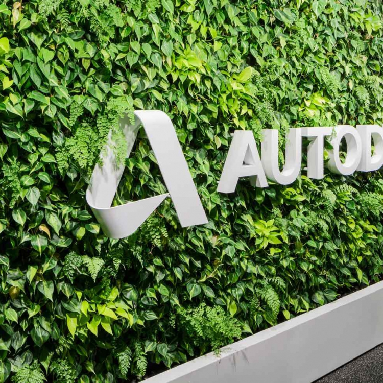 Living wall with white autodesk logo