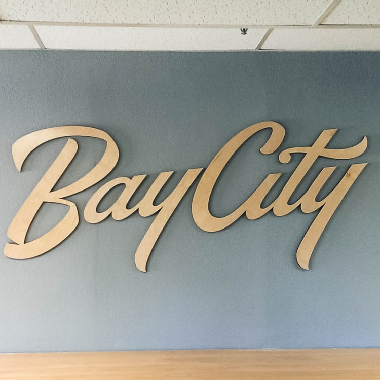 Bay City Church Wood Script Sign