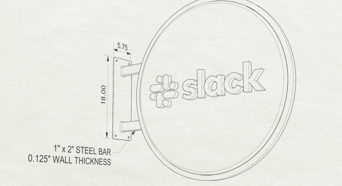 Drawing of wood blade sign with dimensional color logo and brass hardware for the San Francisco brand space at Slack, an American cloud-based set of team collaboration tools and services.