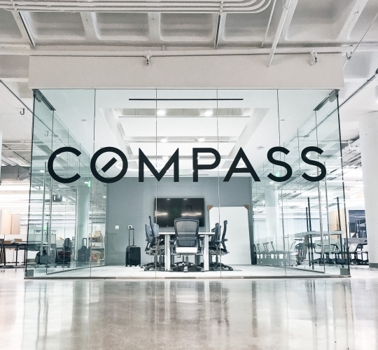 Compass Glass Board Room Sign