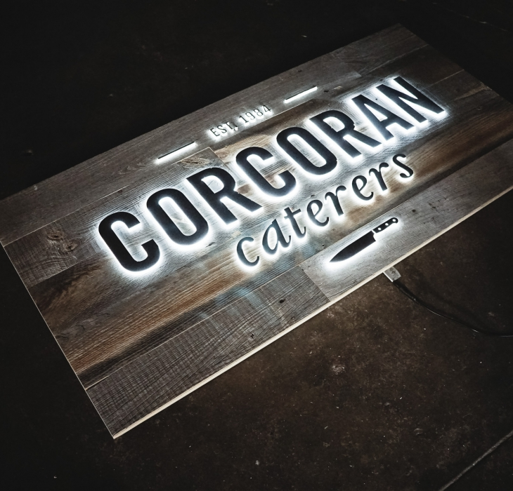 Corcoran Caterers Illuminated Sign