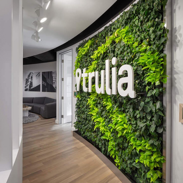 Curved living wall with white dimensional logo on curved wall at Trulia office