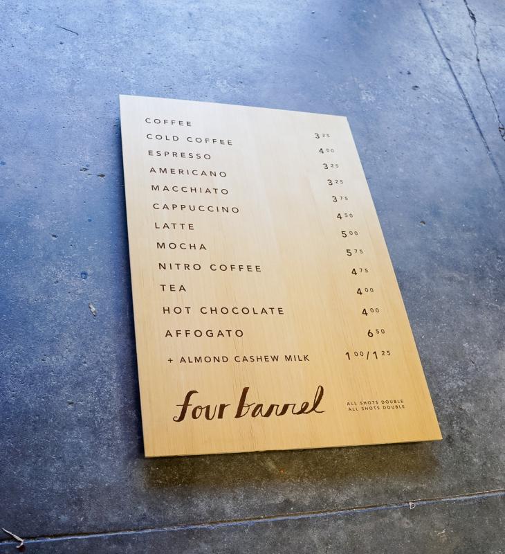 Four Barrel Coffee Menu