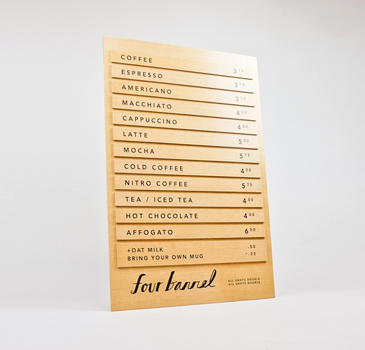 Four Barrel Menu With Removable Items
