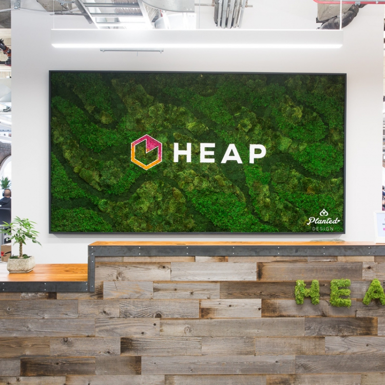 Living wall at the reception area of Heap