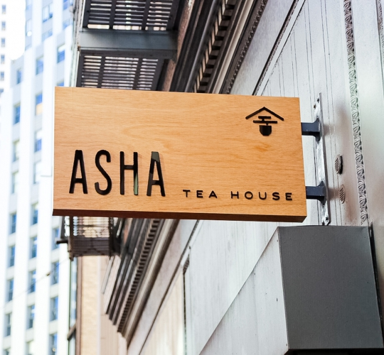 Asha Tea House Exterior Sign