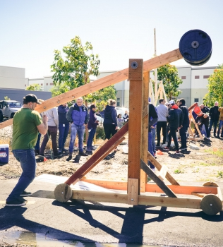 A team finds camaraderie—by building a giant catapult.