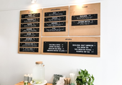 Changeable wood and chalkboard menu for Palm Acai Cafe