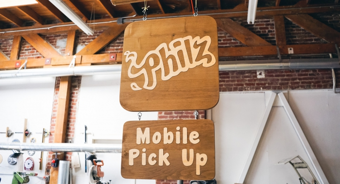 Wood hanging sign for Philz Coffee, an American coffee company and coffeehouse chain based in San Francisco, California, considered a major player in third wave coffee.