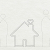 Dark wood house silhouette logo filled with preserved moss art for Zumper, a full-service rental platform.