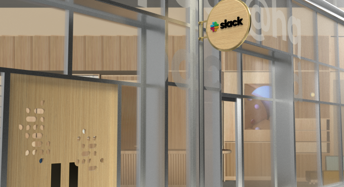 Mockup of wood blade sign with dimensional color logo and brass hardware for the San Francisco brand space at Slack, an American cloud-based set of team collaboration tools and services.