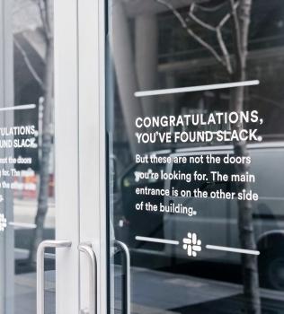 Slack Glass Door Signage
