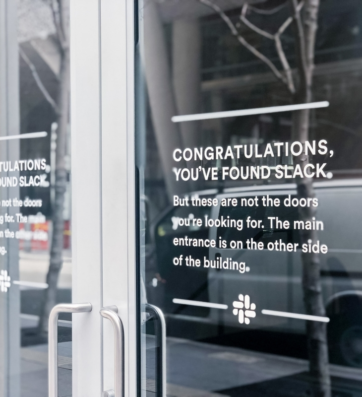 Slack Glass Door Signage