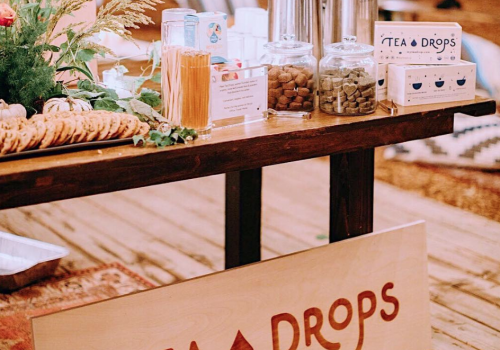 Tea Drops wood tradeshow sign