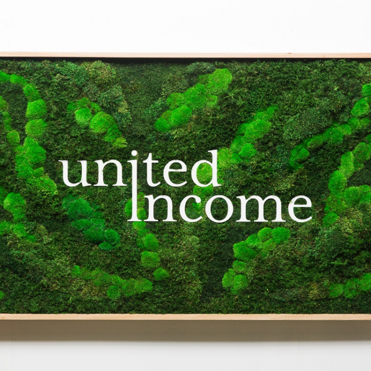 Framed moss sign with white logo for United Income