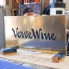 Verve Wine Copper Brass Bronze Modern Retail Hanging Blade Sign with script