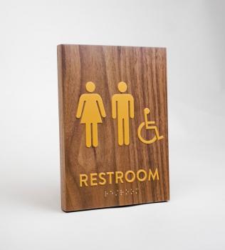 Walnut restroom signs