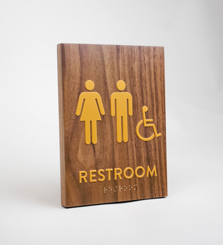 Walnut restroom signs