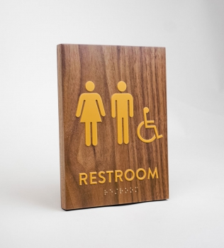 Gold and Walnut ADA Restroom Sign