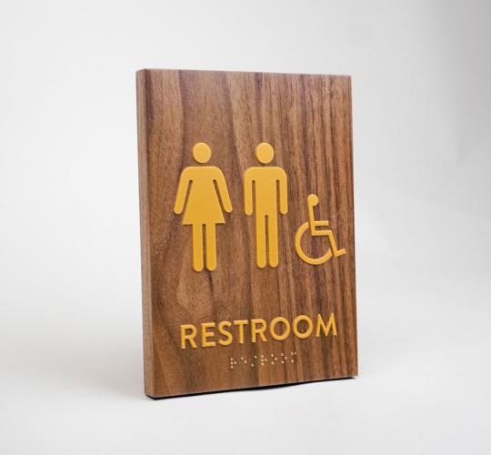 Gold and Walnut ADA Restroom Sign
