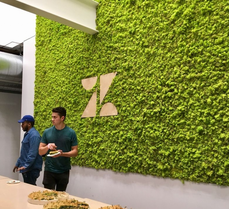 Living wall with wood logo at the Zendesk headquarters in San Francisco